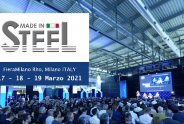 A Marzo 2021 torna l'appuntamento con Made in Steel alla Fiera di Milano Rho